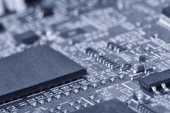 Printed circuit board close up for background Toned image stock photos