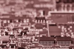 Printed circuit board close up for background Toned image royalty free stock photos