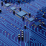 Printed Circuit Board with detailed network Texture 3D Illustrat Royalty Free Stock Photo