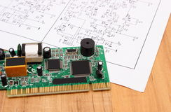 Printed circuit board and diagram of electronics, technology Royalty Free Stock Photo