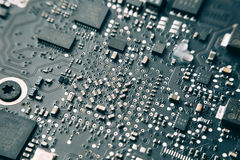 Printed Circuit Board with electrical components. Stock Image