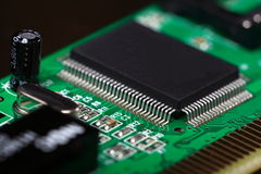 Printed Circuit Board with electrical components Stock Photos
