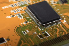 Printed Circuit Board with electrical components Royalty Free Stock Images