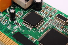 Printed circuit board with electrical components, technology Royalty Free Stock Photo