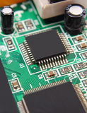 Printed circuit board with electrical components, technology Royalty Free Stock Photography