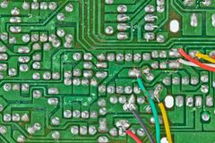 Printed-circuit board with electronic components Stock Photos