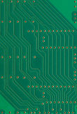 Printed circuit board, electronic components plate macro closeup background texture, green vertical textured pattern Stock Photos