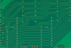 Printed circuit board, electronic components plate macro closeup, large detailed horizontal background texture copy space Stock Photography