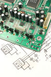 Printed circuit board and electronic scheme Stock Photography