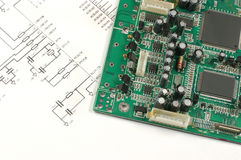 Printed circuit board and electronic scheme Stock Images