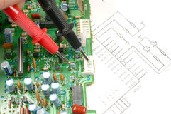 Printed circuit board and electronic scheme Stock Photos