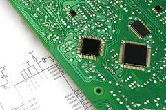 Printed circuit board and electronic scheme Royalty Free Stock Photo