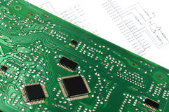 Printed circuit board and electronic scheme Royalty Free Stock Images