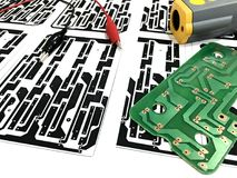 Printed circuit board layout. Printed circuit board, electronic, Technology Can be attributed to your work. Presenting Future Technology Concepts royalty free stock image