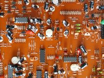 Printed circuit board of electronics Royalty Free Stock Photo