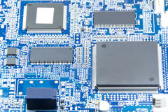 Printed circuit board with electronics components Royalty Free Stock Images