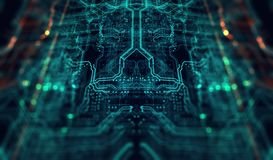 Printed circuit board futuristic server Stock Photography