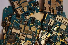 Many discarded circuit boards. Printed circuit board on a graphics card Stock Photography