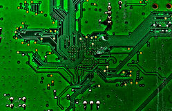 Printed circuit board green. А track on the printed circuit board Stock Photo