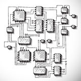 Printed circuit board, hand drawn. Royalty Free Stock Photos