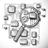 Printed circuit board, hand drawn. Stock Image