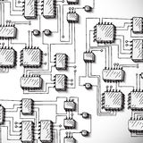 Printed circuit board, hand drawn. Royalty Free Stock Image