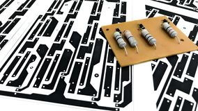 Printed circuit board layout. On paper, electronic, Technology Can be attributed to your work. Presenting Future Technology Concepts stock photos
