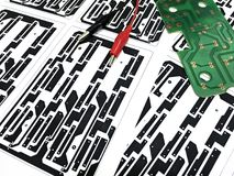 Printed circuit board layout. On paper, electronic, Technology Can be attributed to your work. Presenting Future Technology Concepts royalty free stock image