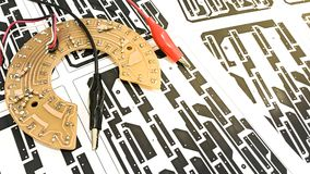 Printed circuit board layout. On paper, electronic, Technology Can be attributed to your work. Presenting Future Technology Concepts royalty free stock images