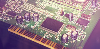 Printed Circuit Board with many electrical components. Close up image. royalty free stock photos