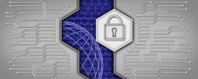 Printed circuit board with padlock. The background is symbolic stock illustration