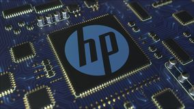 Computer printed circuit board or PCB with Hewlett-Packard Company HP logo. Conceptual editorial 3D animation