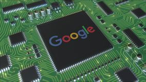 Computer printed circuit board or PCB with Google logo. Conceptual editorial 3D animation. Printed circuit board or PCB stock video