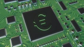 Euro sign on a chipset. Conceptual 3D rendering Stock Photo