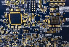 Printed circuit board pcb with golden contacts pads royalty free stock photography