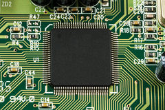 Printed Circuit Board (PCB) with, ICs, Capacitors, and Resistors Stock Images
