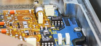 Printed Circuit Board PCB with, ICs, Capacitors, and Resistors stock images