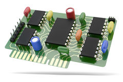 Printed circuit board PCB with microchip and electronic components stock illustration