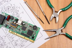 Printed circuit board. precision tools and diagram of electronics, technology Royalty Free Stock Photography