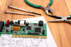 Printed circuit board. precision tools and diagram of electronics, technology Royalty Free Stock Photo