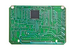 Printed circuit board. Isolated on white background royalty free stock photography