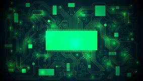 Printed circuit board with a processor, microchips and binary code. Abstract high-tech electronic background, copy space, template. Well organized layers vector illustration