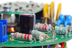 Printed circuit board with radio components Royalty Free Stock Photos