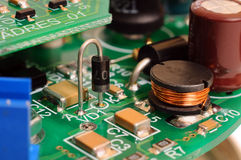 Printed circuit board with radio components Royalty Free Stock Photography