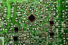 Printed circuit board with radio parts Royalty Free Stock Image