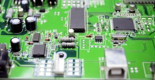 Printed circuit board with radio parts Stock Image