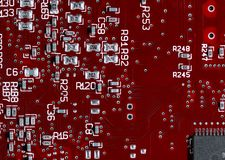 Printed circuit board - red. Printed circuit board macro - red - very high resolution Stock Image