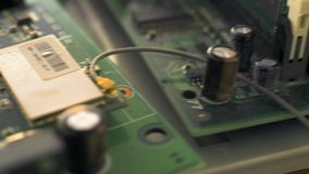 Printed circuit boards of computers stock footage