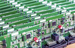Printed Circuit Boards Placed in Lines Together Royalty Free Stock Images