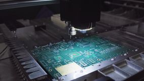 Printed circuit boards production factory. Technological process. Microchip production factory. Production of electric. Boards at factory stock photos